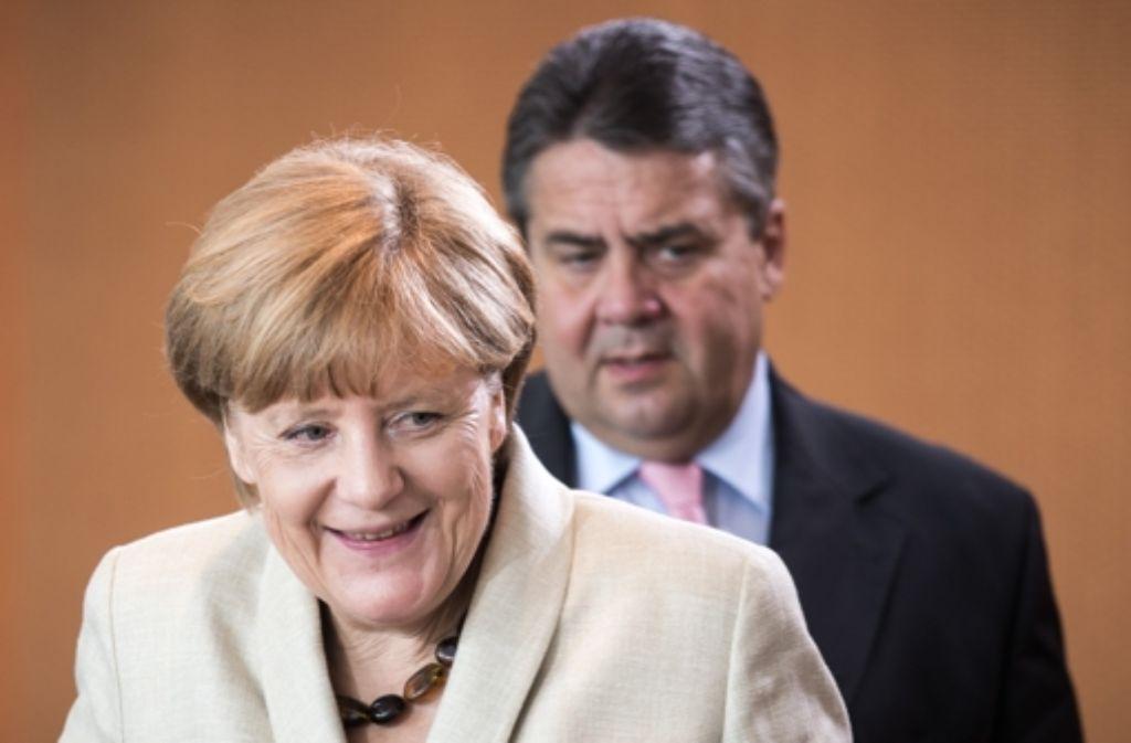 Bundeskanzlerin Angela Merkel und Vizekanzler Sigmar Gabriel bei der Kabinettssitzung. Foto: dpa