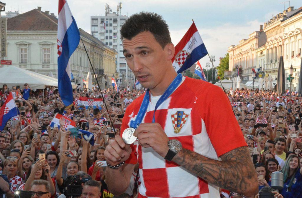 Mario Mandzukic beim Empfang der kroatischen Nationalelf nach der WM. Foto: XinHua