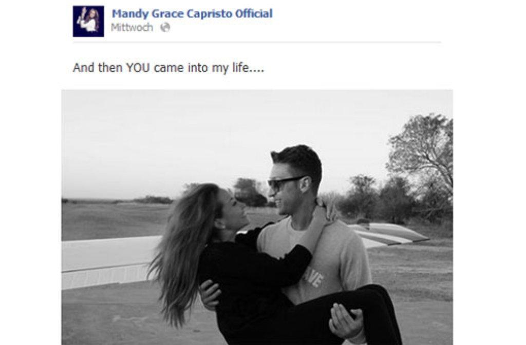 Mandy Capristo und Mesut Özil machen ihre Liebe offiziell - via Facebook und Twitter. Foto: © facebook.com/mandycapristoofficial