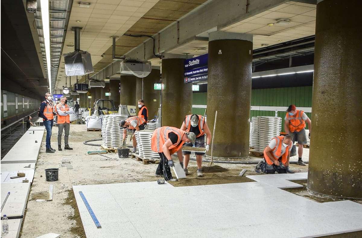 Die Haltestellen der S-Bahn in Stuttgart sind während der Sommerferien saniert worden. Im Sommer 2022 und 2023 gehen die Arbeiten weiter. Foto: Lichtgut/Ferdinando Iannone