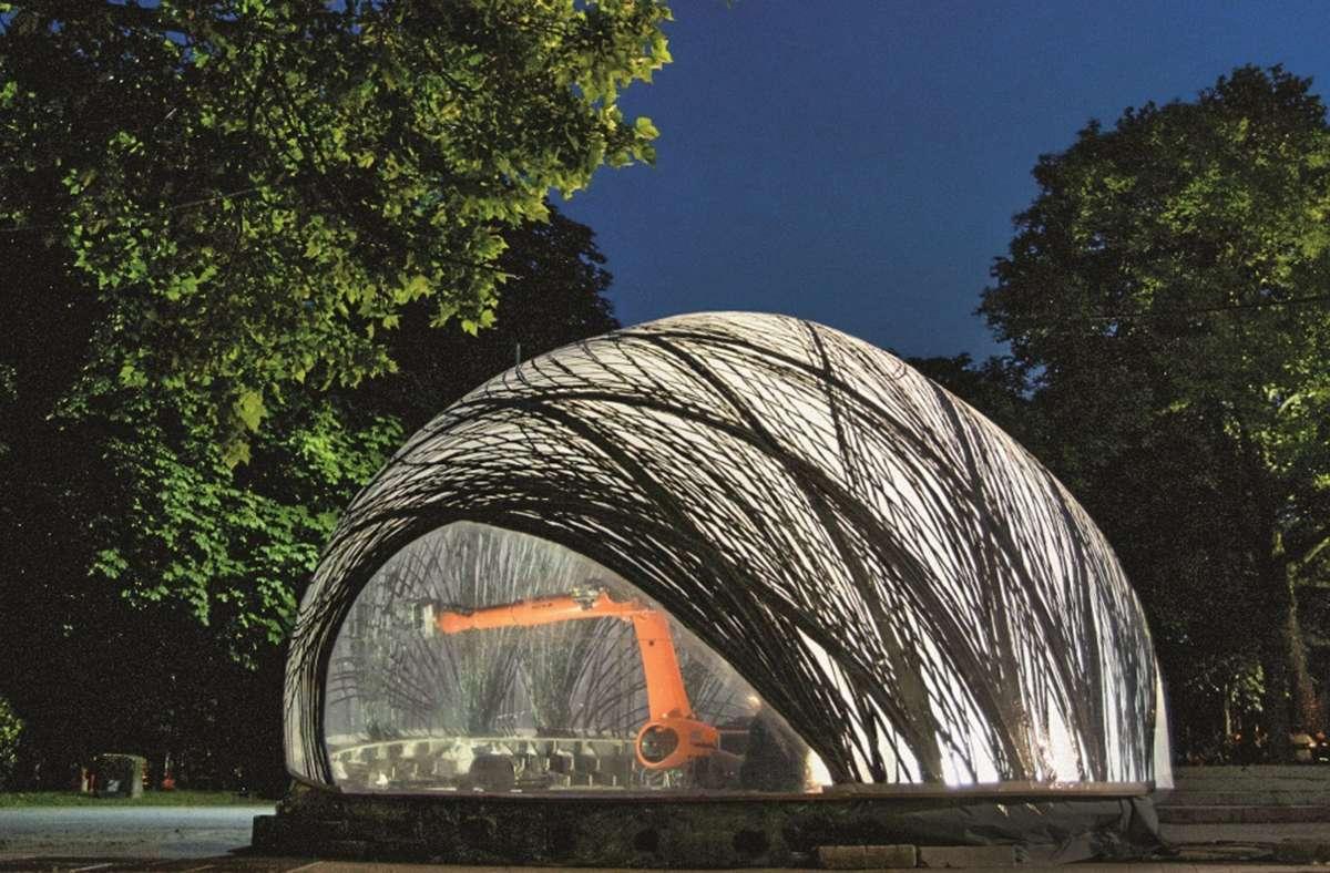 Die Wasserspinne stand Pate:  der Forschungspavillon 2014/15 auf dem Innenstadt-Campus Foto: ICD/ITKE Universität Stuttgart