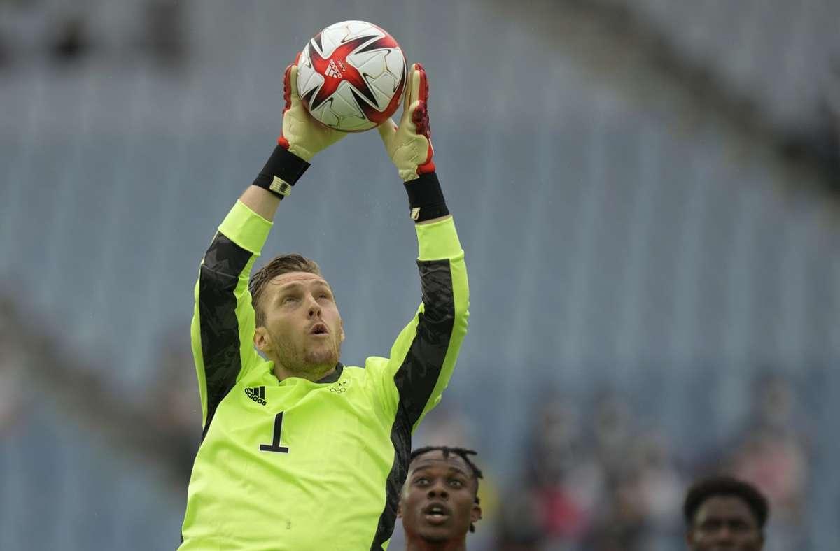 VfB-Torhüter Florian Müller war mit der Olympia-Auswahl in der Gruppenphase ausgeschieden (Archivbild). Foto: dpa/Andre Penner