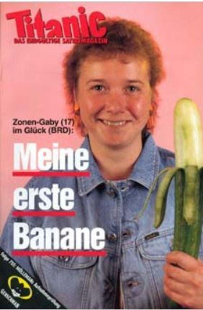 """Das Knaller-Cover aus den 80er Jahren: Zonen-Gaby und ihre """"Banane"""".  Foto: http://www.titanic-magazin.de"""