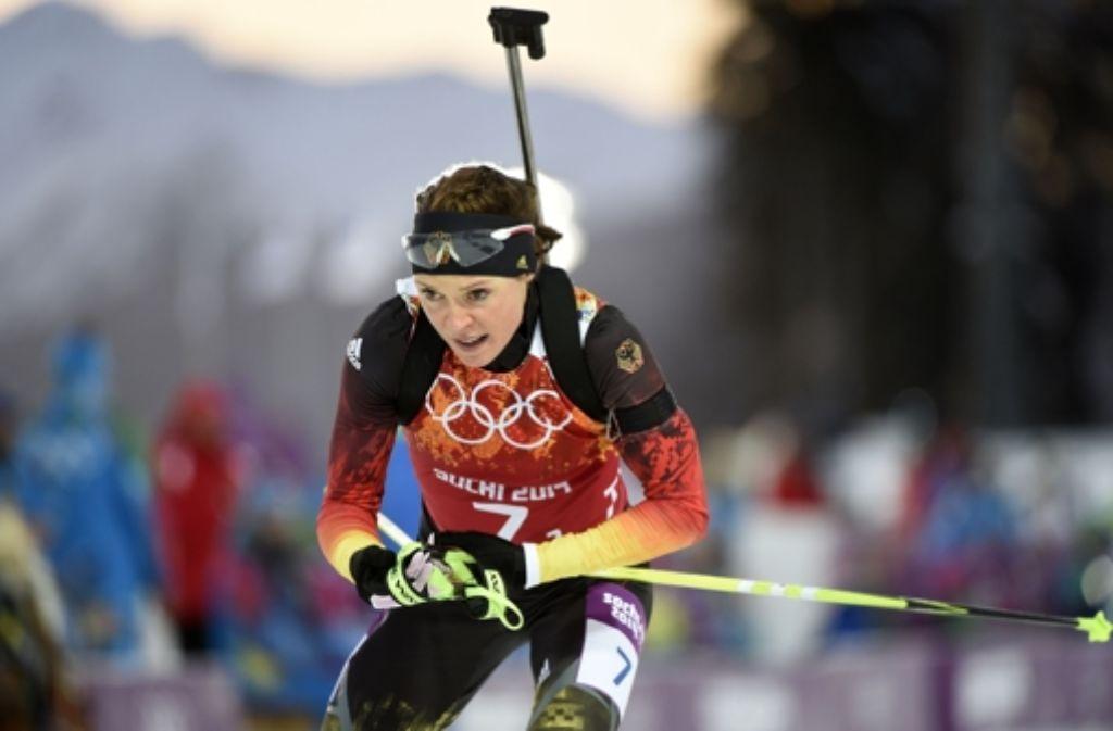 Die Biathletin Evi Sachenbacher-Stehle ist bei den Winterspielen in Sotschi positiv auf das Stimulanzmittel Methylhexanamin getestet worden Foto: AFP