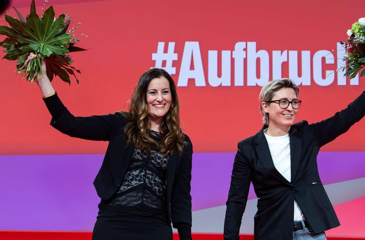 Von der Aufbruchstimmung im Februar ist bei den beiden neuen  Linken-Vorsitzenden Janine Wissler (li.) und Susanne Hennig-Wellsow nicht sehr viel geblieben. Foto: dpa/Bernd von Jutrczenka