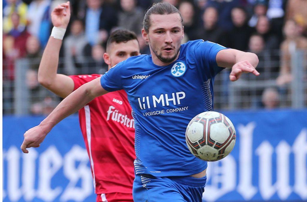 Mijo Tunjic erzielte das 1:0 für die Stuttgarter Kickers. Foto: Pressefoto Baumann
