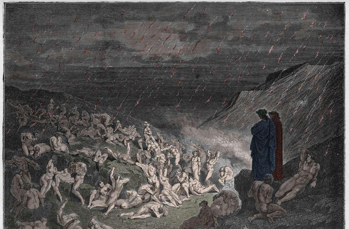 Klimahölle: Trocken, unfruchtbar und wenn es regnet, ist es Feuer. Illustration von Gustave Doré. Foto: imago/Leemage/imago stock&people