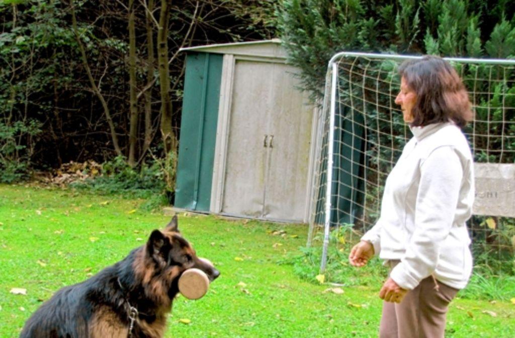 Auf Kommando bringt Arkan seiner Besitzerin Ute Höß das Stöckchen. Foto: Nina Ayerle