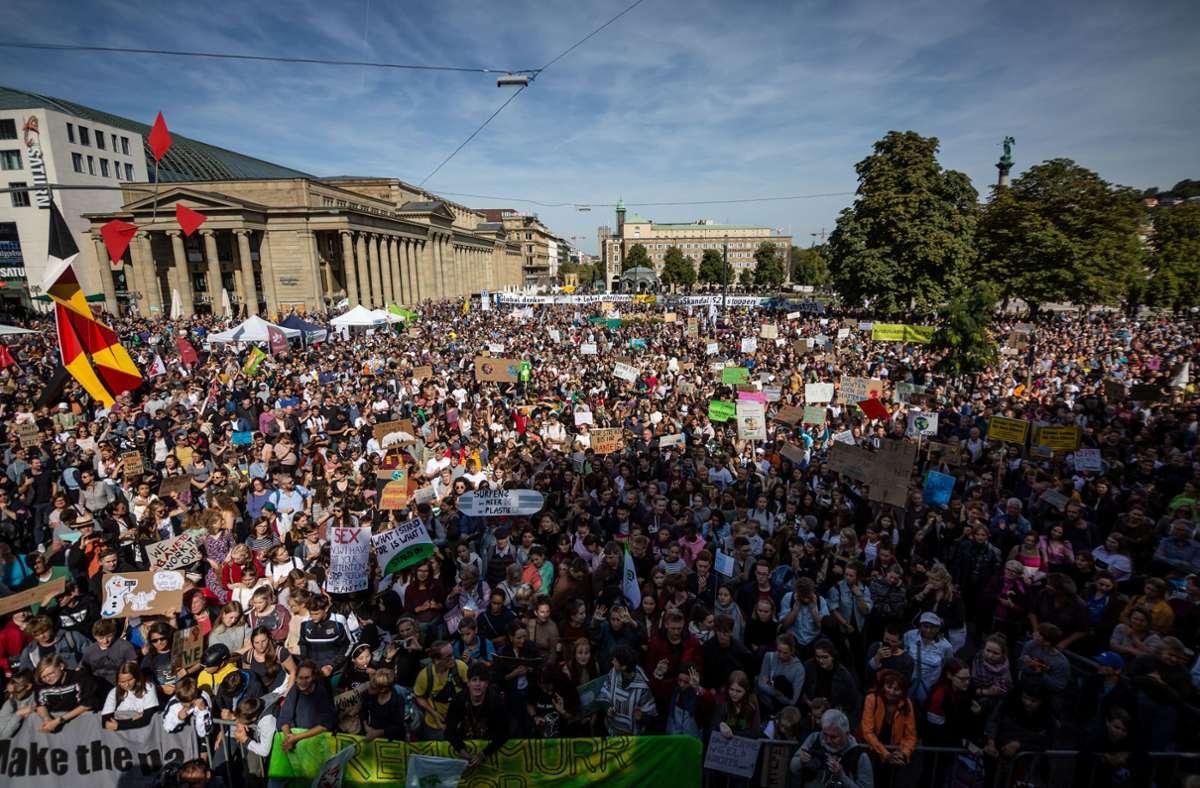 Die Aktivisten der Fridays-for-Future-Bewegung demonstrieren für ihre eigene Zukunft, wie hier im vergangenen September auf dem Schlossplatz. Foto: Lichtgut/Julian Rettig