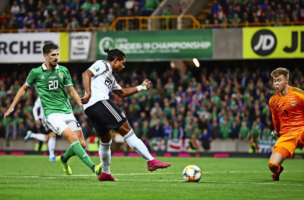 Entscheidung in Belfast: Serge Gnabry (Mitte) trifft zum 2:0-Endstand für die deutsche Nationalmannschaft beim Länderspiel gegen Nordirland. Foto: Getty