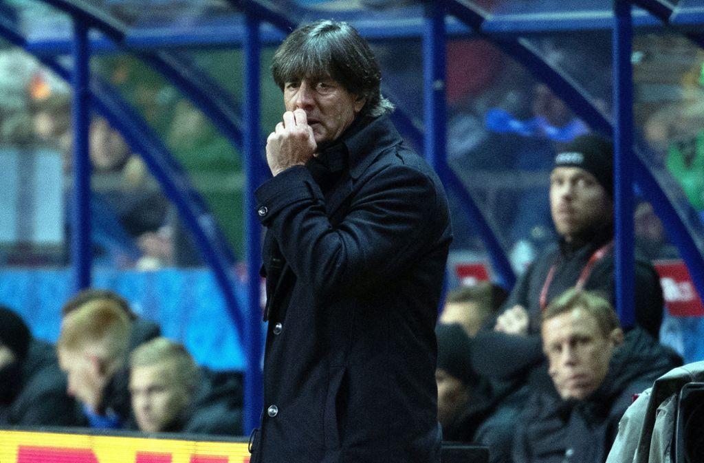 Deutsche Fans machten ihrem Unmut über Bundestrainer Jogi Löw in Estland Luft. Foto: dpa/Federico Gambarini