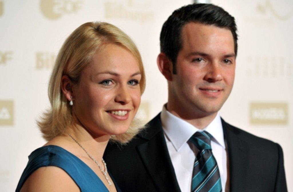 Sie werden Eltern: Der frühere Biathlon-Weltstar Magdalena Neuner und ihr Freund Josef Holzer. Foto: dpa