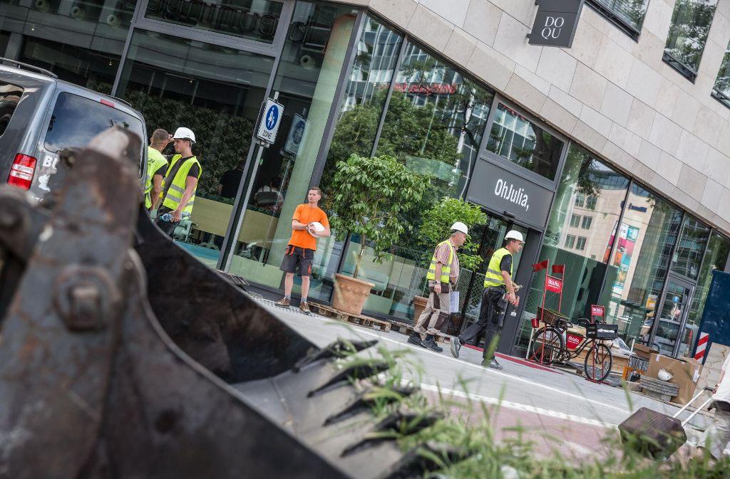 Das neue Dorotheen-Quartier wird noch einige Zeit seinen Baustellen-Charakter behalten. Foto: Lichtgut/Julian Rettig