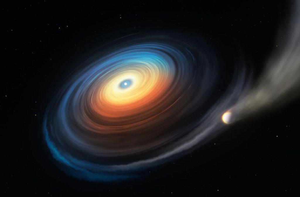 Diese Abbildung zeigt den Weißen Zwerg WDJ0914+1914 und seinen Neptun-ähnlichen Exoplaneten. Da der eisige Riese den heißen Weißen Zwerg in geringer Entfernung umkreist, streift die extreme ultraviolette Strahlung des Sterns die Atmosphäre des Planeten ab. Während das meiste dieses abgetragenen Gases entweicht, wirbelt ein Teil davon auf eine Scheibe, die ihrerseits auf den Weißen Zwerg strömt. Foto: /ESO/M. Kornmesser