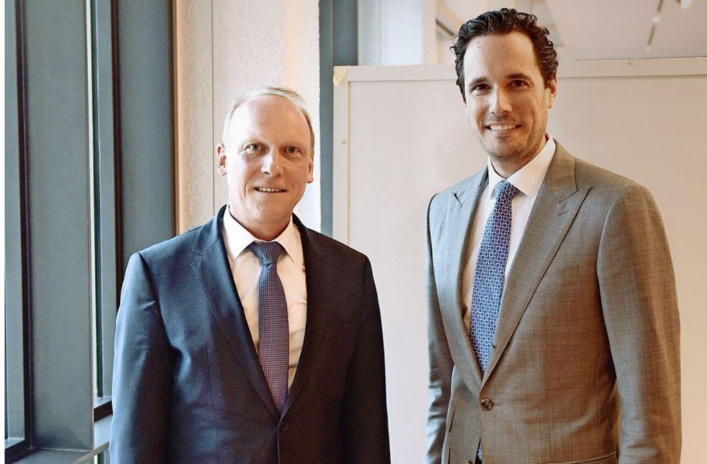 Aufsteiger im Rathaus: Thomas Fuhrmann (li.), Fabian Mayer. Foto: Lichtgut/Max Kovalenko