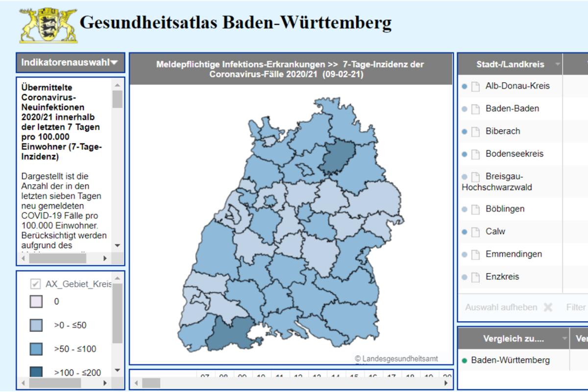 Der Gesundheitsatlas BW zeigt die aktuellen Werte. Foto: Landesgesundheitsamt Stuttgart (Screenshot vom 10.02.2021 um 08:53 Uhr)