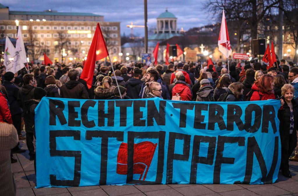 Die Demonstranten haben ein klares Zeichen gegen rechten Terror gesetzt. Foto: Lichtgut/Christoph Schmidt