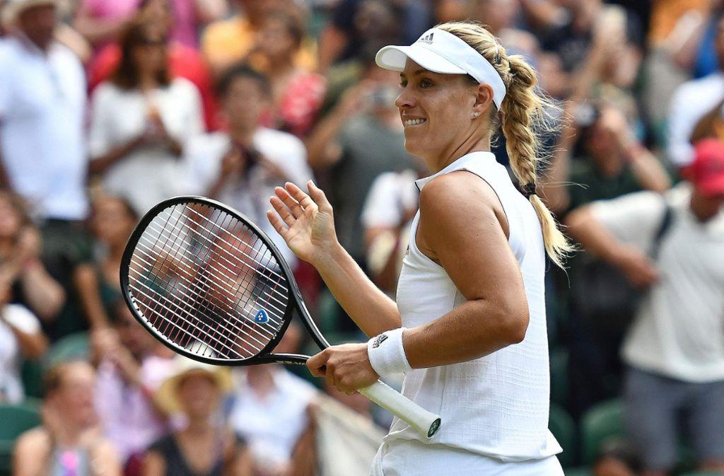 Angelique Kerber freut sich über den deutlichen Drittrunden-Sieg in Wimbledon. Foto: AFP