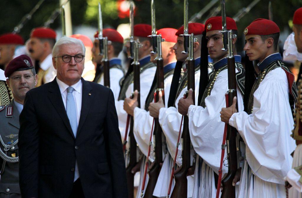Militärische Ehren für Bundespräsident Steinmeier in Athen. Foto: imago stock&people