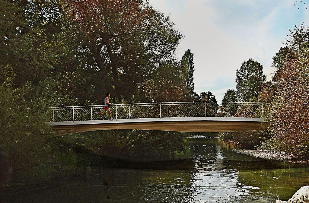 So könnte die  Holzbrücke über der Rems aussehen.Animation:Architekturbüro Cheret und Bozic Foto: