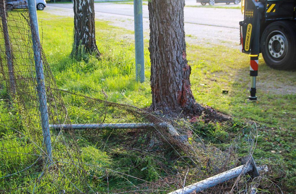 Die Frau beschädigte den Zaun auf einer Strecke von etwa 20 Metern. Foto: SDMG