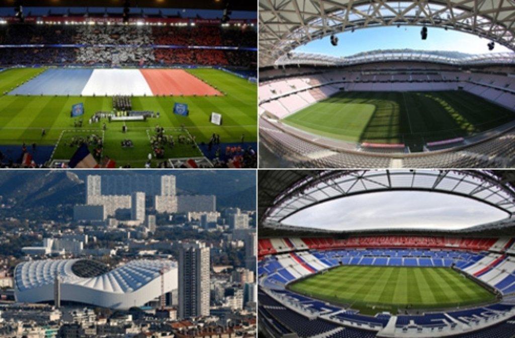 In insgesamt zehn verschiedenen Stadien werden die Spiele der  Fußball-Europameisterschaft Foto: dpa/Collage