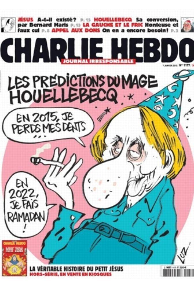 Die Aktuelle Titelseite Des Satiremagazins Charlie Hebdo Ziert Das Konterfei Des Auch In Wirklichkeit Durchaus Vom Leben Gezeichneten Schriftstellers Michel Houellebecq Stuttgarter Zeitung