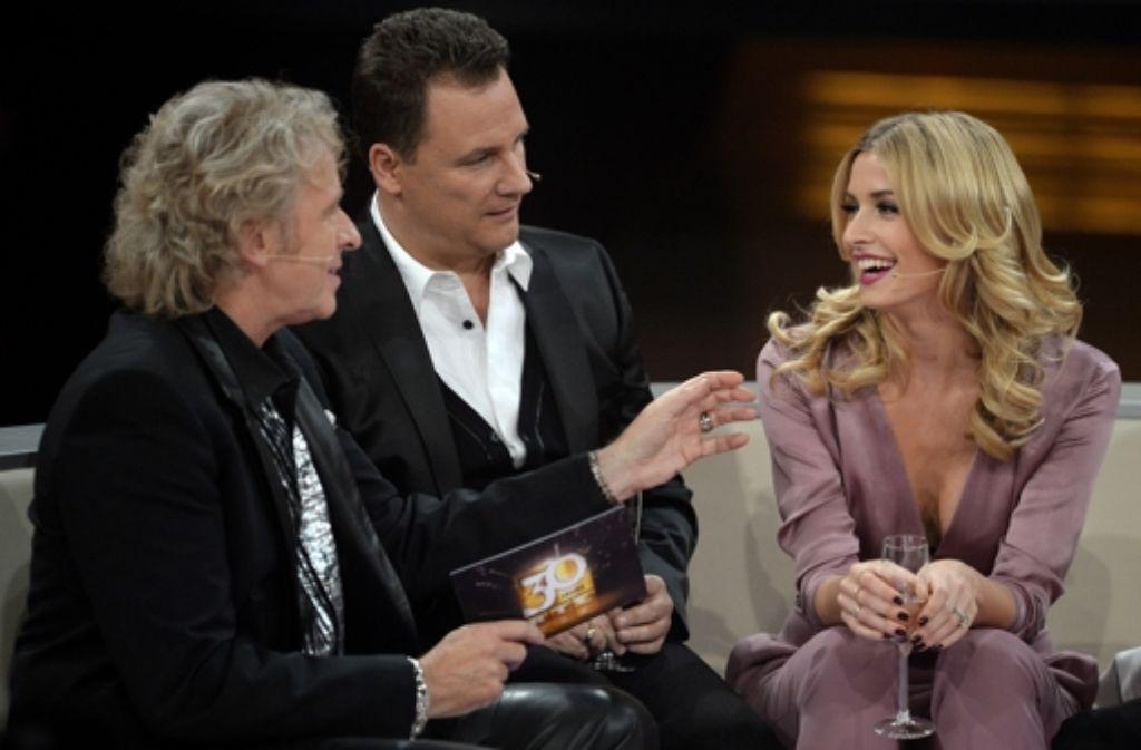 Auf der RTL-Couch begrüßte Thomas Gottschalk (links) unter anderem den Designer Guido Maria Kretschmer und das Model Lena Gercke. Foto: Getty Images Europe