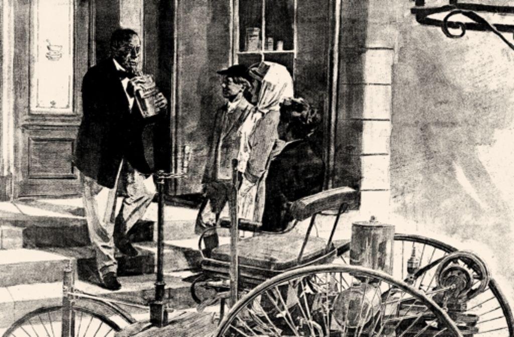So könnte es gewesen sein: Bertha Benz und ihre beiden Söhne beim Tankstopp in der Apotheke. Foto: Daimler