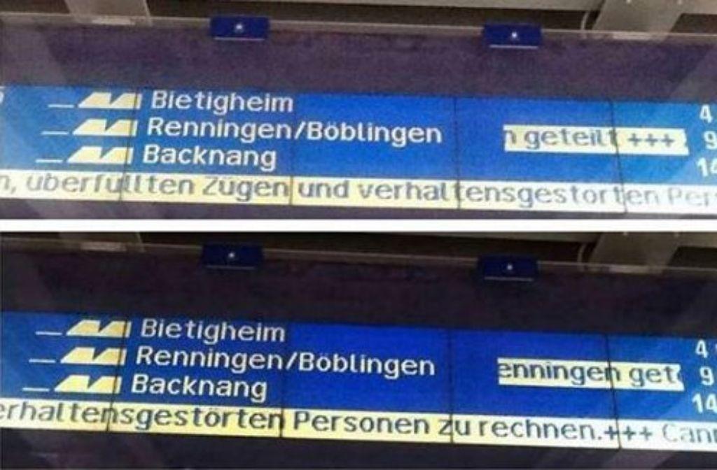 Verhaltensgestörte Personen: Der Bahn in Stuttgart ist dieser Volksfest-Hinweis sehr peinlich. Foto: Wasen Free Youth bei Facebook