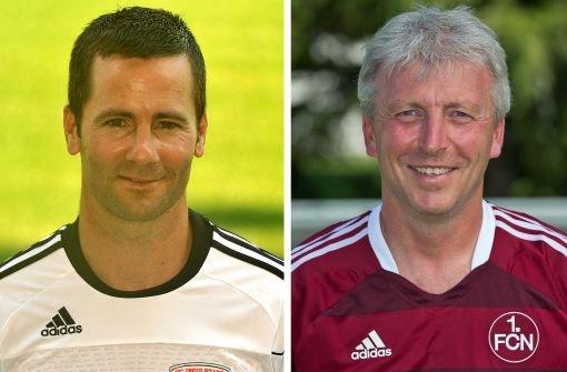 Michael Wiesinger (links) und Armin Reutershahn (Archivfotos) sollen den 1. FC Nürnberg in der Fußball-Bundesliga weiter auf Kurs halten. Foto: dpa