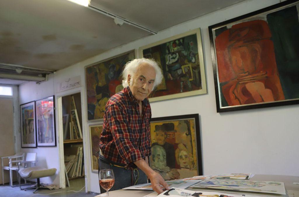 Pebe Bader in seinem Atelier in der Fellbacher Eisenbahnstraße im Mai 2018. Foto: Patricia Sigerist