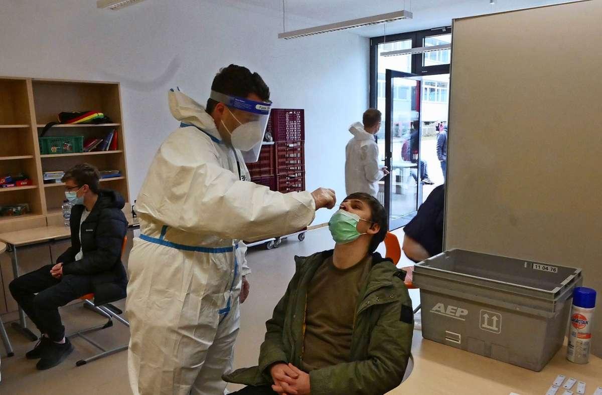 """Beim """"Nasenbohrertest"""" wird ein spezielles Wattestäbschen vorsichtig durch die Nase eingeführt. Das Ergebnis steht schon binnen weniger Minuten fest. Foto: Kerstin Dannath"""