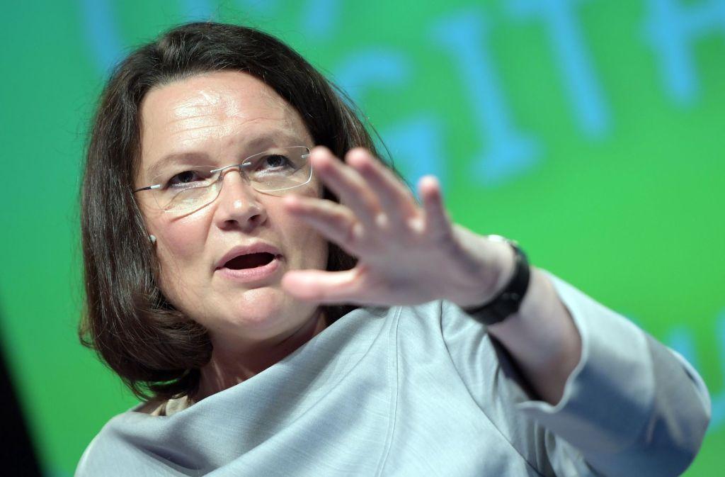 Arbeitsministerin Andrea Nahles (SPD) hat zurzeit keine Sorgen mit den Sozialversicherungen, denn deren Einnahmen steigen. Foto: dpa