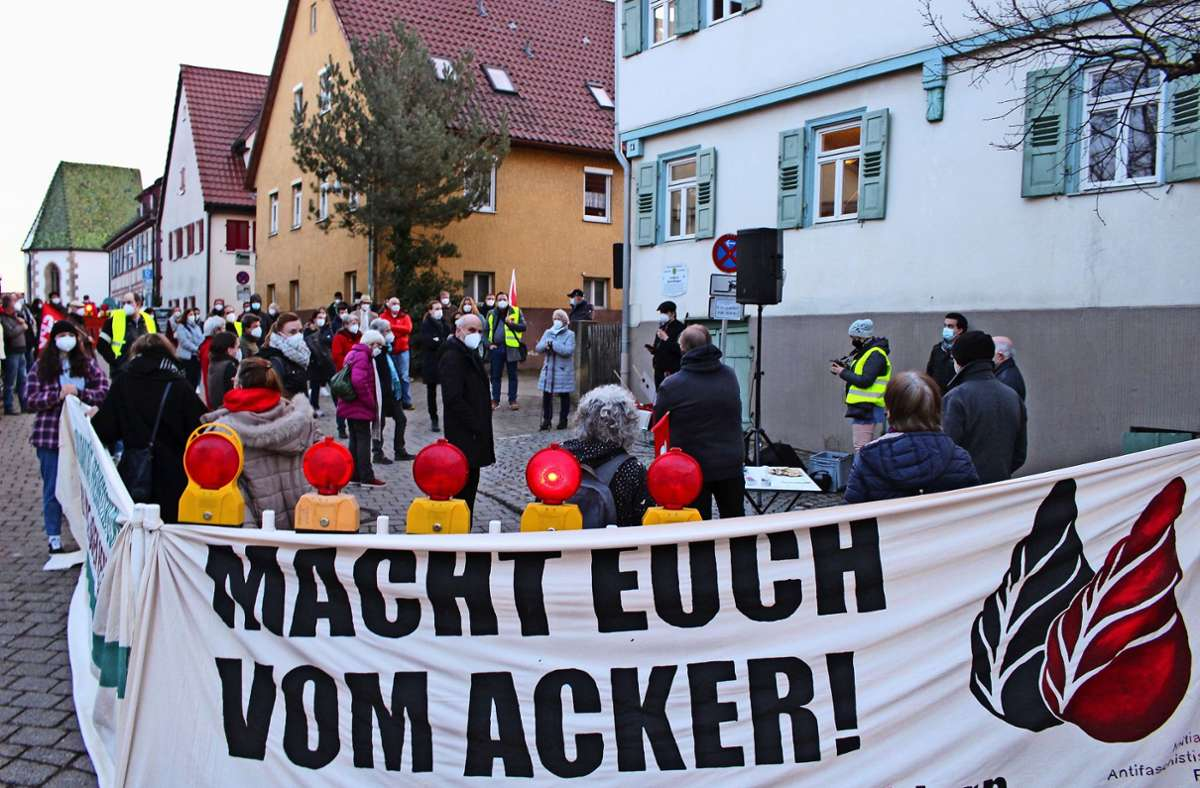 Die Demo von SPD, Linke, Initiative Antifaschistische Filder sowie Fridays for Future hatte etwas früher begonnen. Foto: Caroline Holowiecki