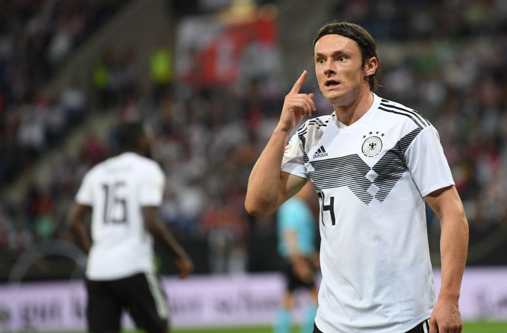 Nico Schulz schießt die Deutschen in der Nations League gegen Peru in Führung. Foto: dpa