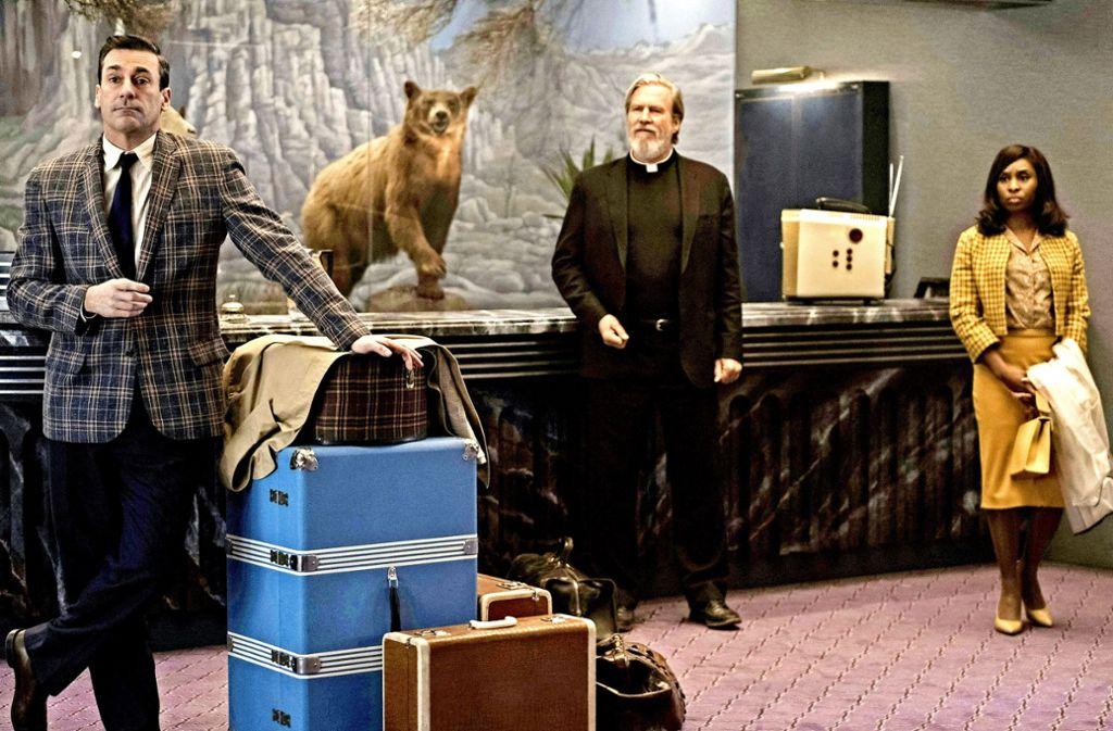 """Gefangen in einer Geisterherberge: Jon Hamm, Jeff Bridges und  Cynthia Erivo (von links) in """"Bad Times at the El Royale"""" Foto: Verleih"""