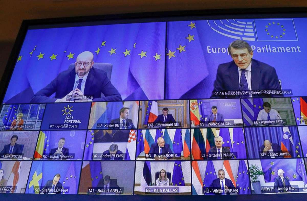 Gipfel-Format: Wieder einmal treffen sich die Staats- und Regierungschefs nur auf dem Videoschirm. Foto: AFP/Olivier Hosliet