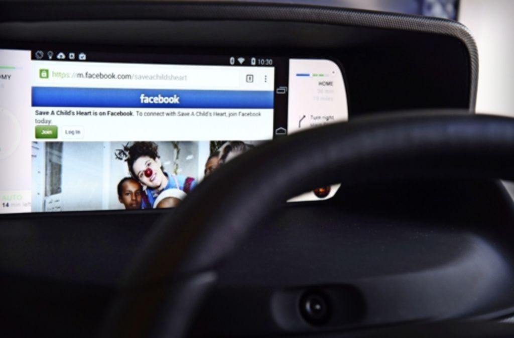 Idee für ein autonom fahrendes Auto: Facebook für unterwegs Foto: AFP