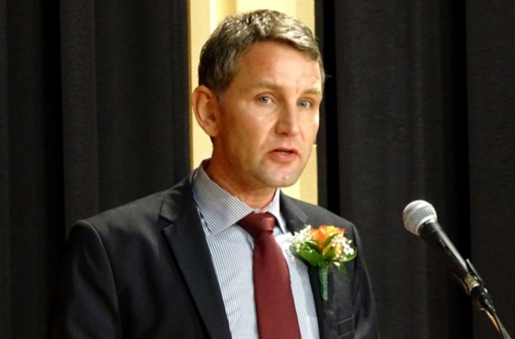 """Der AfD-Wahlkämpfer Björn Höcke will die """"Zeitgeist-Diktatur"""" bekämpfen. Foto: Scheffel"""