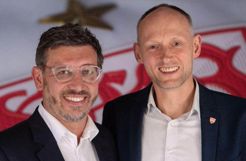 Zwei kritische Köpfe, ein Ziel: Christian Riethmüller (rechts) und Claus Vogt wollen VfB-Präsident werden. Foto: dpa