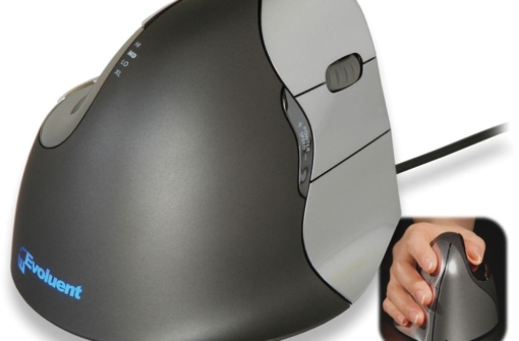 Sieht klobig aus, lässt sich aber gut greifen: die vertikale Maus. Foto: Evoluent