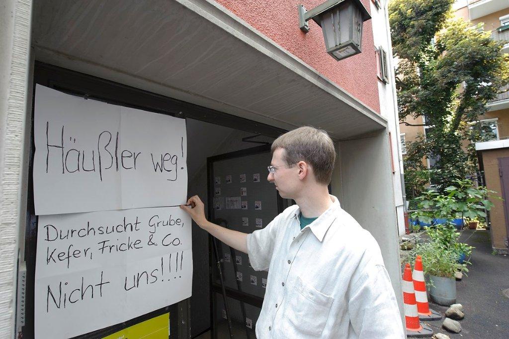 Nach dem Einsatz im Büro der Parkschützer um Matthias von Herrmann Anfang Juli (Foto) wurden nun erneut Räumlichkeiten von S21-Gegnern durchsucht. Foto: www.7aktuell.de/Oskar Eyb (Archivfoto)