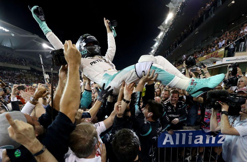 Geschafft: Nico Rosberg ist erstmals Formel-1-Weltmeister. Darauf hat er lange gewartet. Foto: Getty