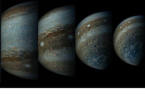 Jupiter leuchtet in der Abenddämmerung