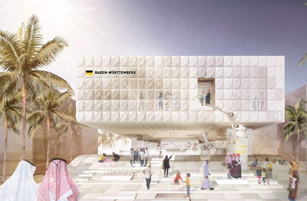 So soll der Expo-Pavillon des Landes in Dubai aussehen. Foto: Arge Von M Knippers/Helbig Transsolar