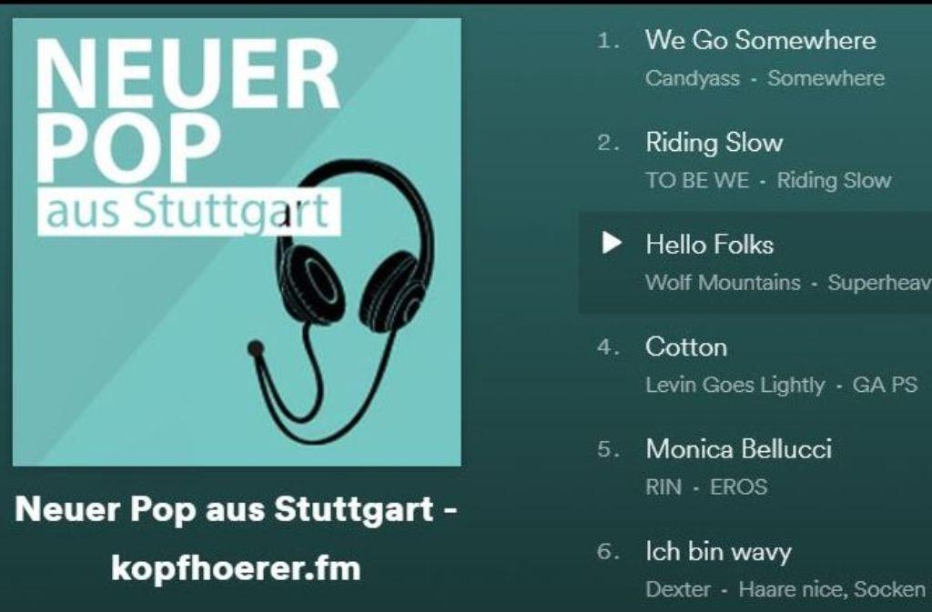 Auf der Spotify-Playlist Neuer Pop aus Stuttgart versammelt die StZ-Popkolumne kopfhoerer.fm hörenswerte Songs von Künstlern aus der Region Stuttgart Foto: StZ / Screenshot