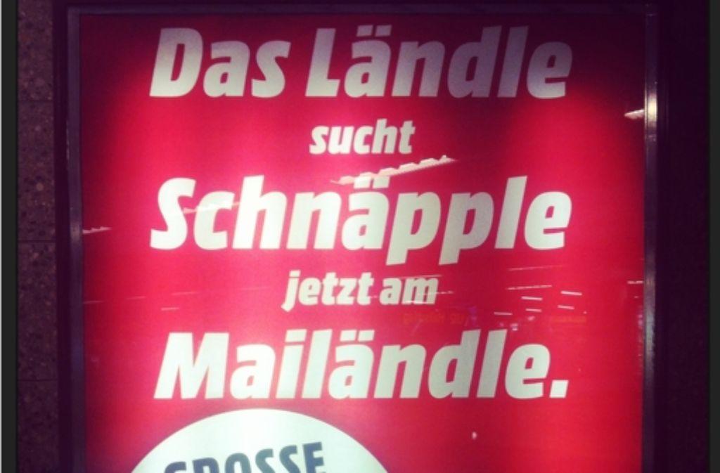So wirbt Media Markt für die neue Filiale in Stuttgart. Volltreffer oder Rohrkrepierer? Foto: Stz