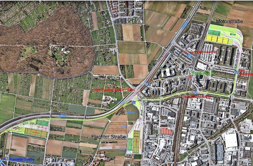Auf diesem Luftbild sind drei der vier  Standort-Varianten für einen neuen Stadtbahnbetriebshof in Weilimdorf grafisch eingezeichnet. Das Foto: SSB