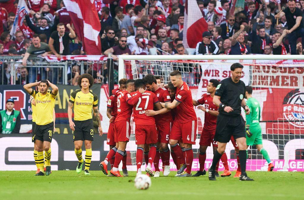Bayern-Jubel im bisher letzten Bundesliga-Duell: Die Münchner demütigen den BVB im April mit 5:0. Foto: imago